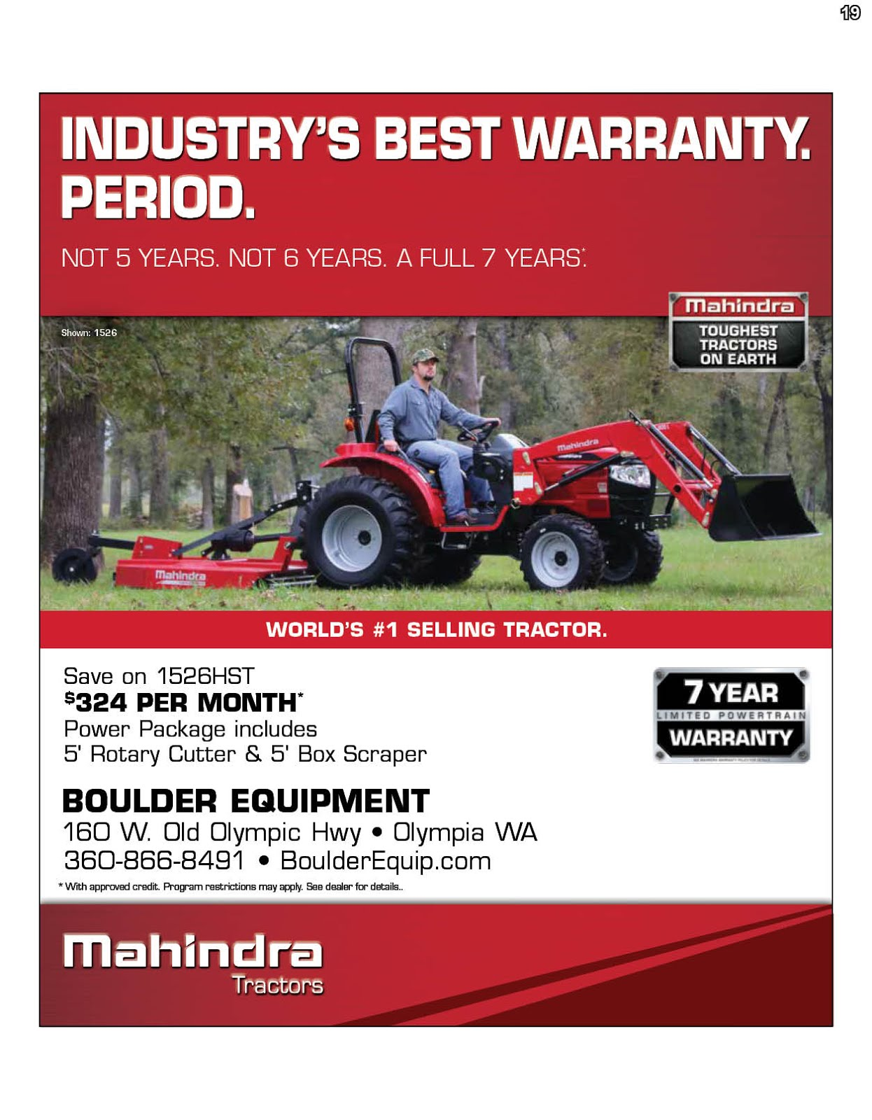 Mahindra Tractor Sale Going On Now @ Boulder Equipment!!