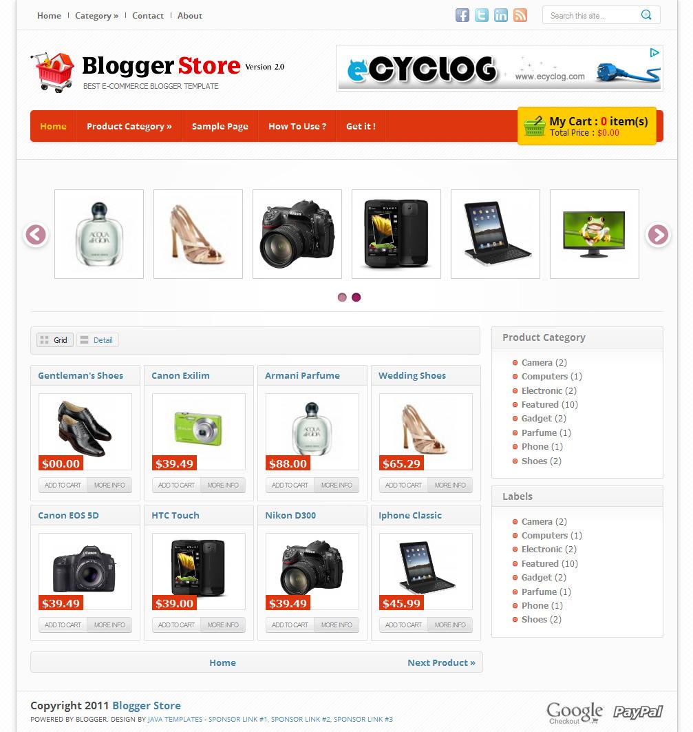 Blogger Templates 2012: Blogger Store V2 | Code Blog