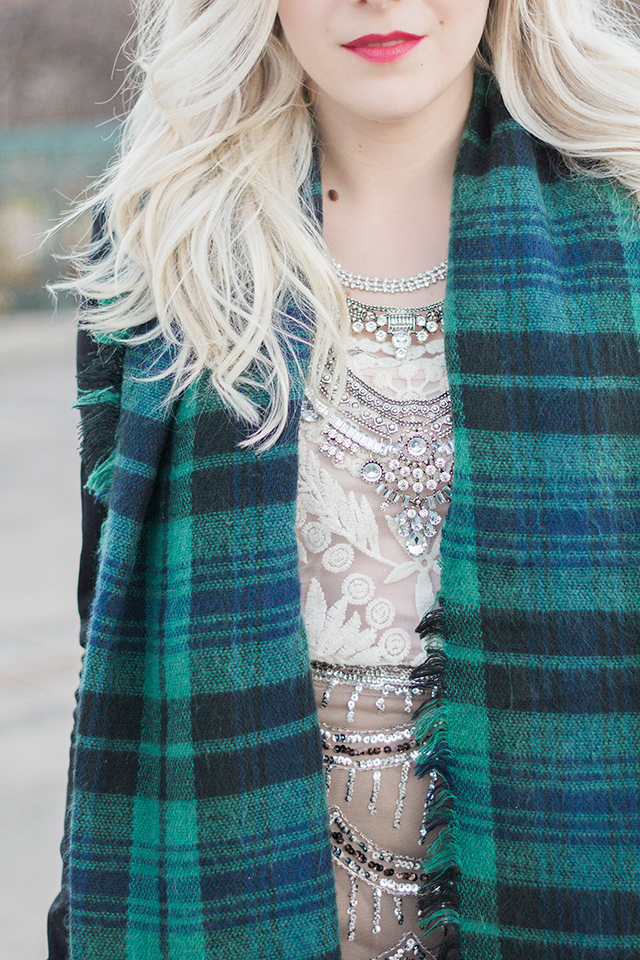 Fall outfit inspiration // Plaid blanket scarf & statement necklace.