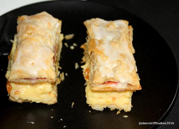 Puddingschnitte mit Blätterteig