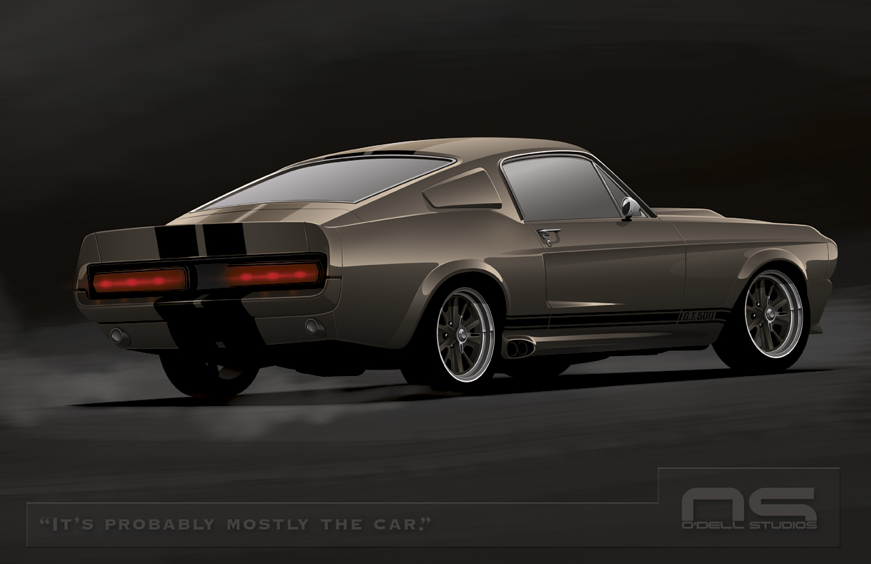 gt500 eleanor rendering rear view with a little tire smoke