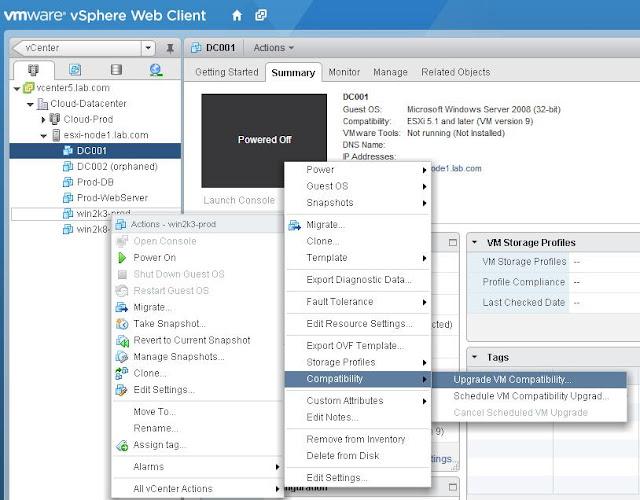 vSphere 5.1 -Scheduling Virtual Machine hardware Upgrade