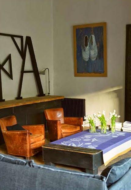 Tulips Indigo Le Jacquard francais. Mantel, camino de mesa y servilletas