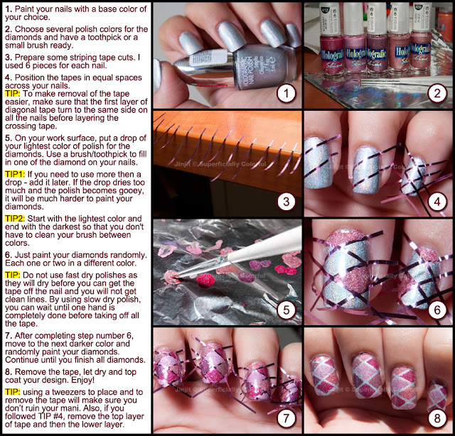 Diamonds pattern nail art tutorial