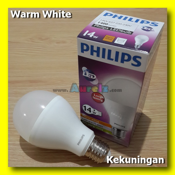 lampu led philips 14 watt warm white