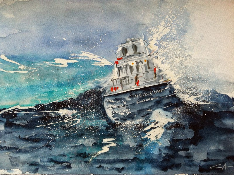 bateau tempête bleu marine mer