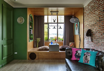 Green Artistic Apartment Interior Design