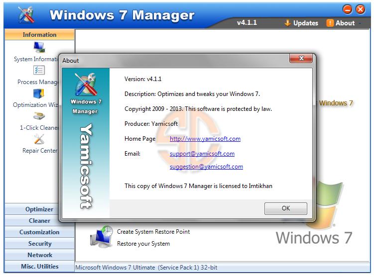 Windows 7 Manager v4.1.1 Full Version