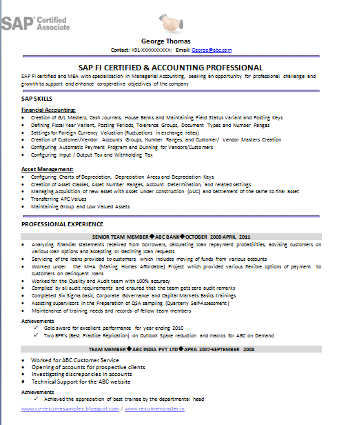 sap fico resume - Sample Sap Resume