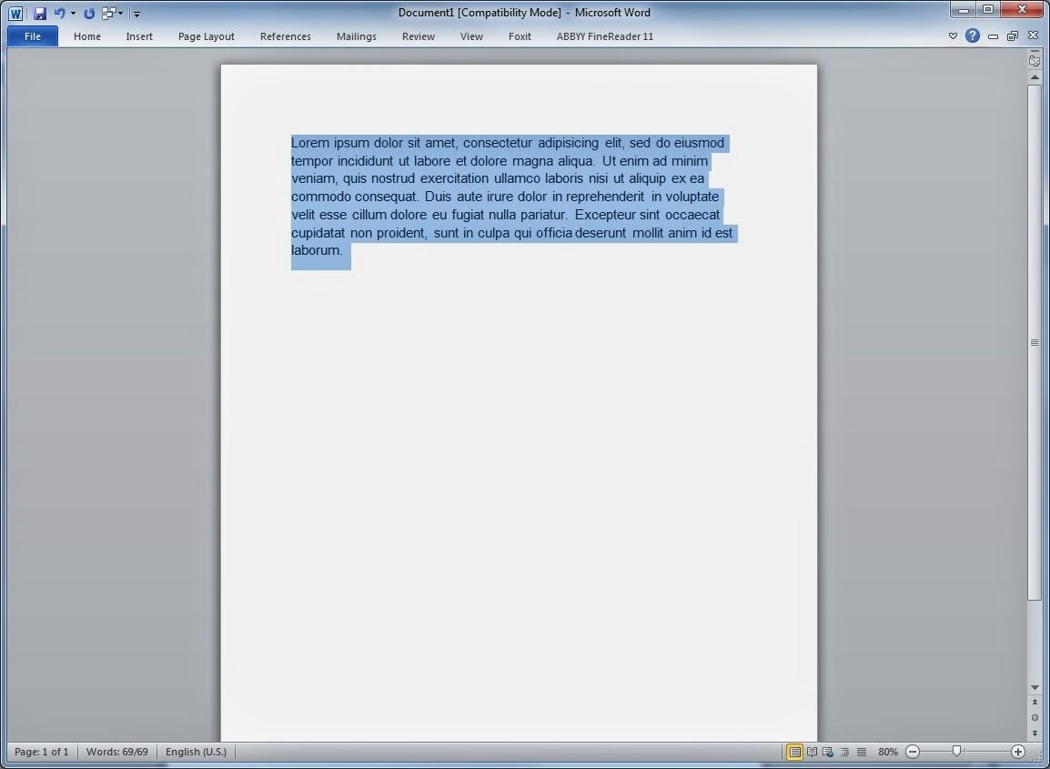 Texto Word - Minúsculas