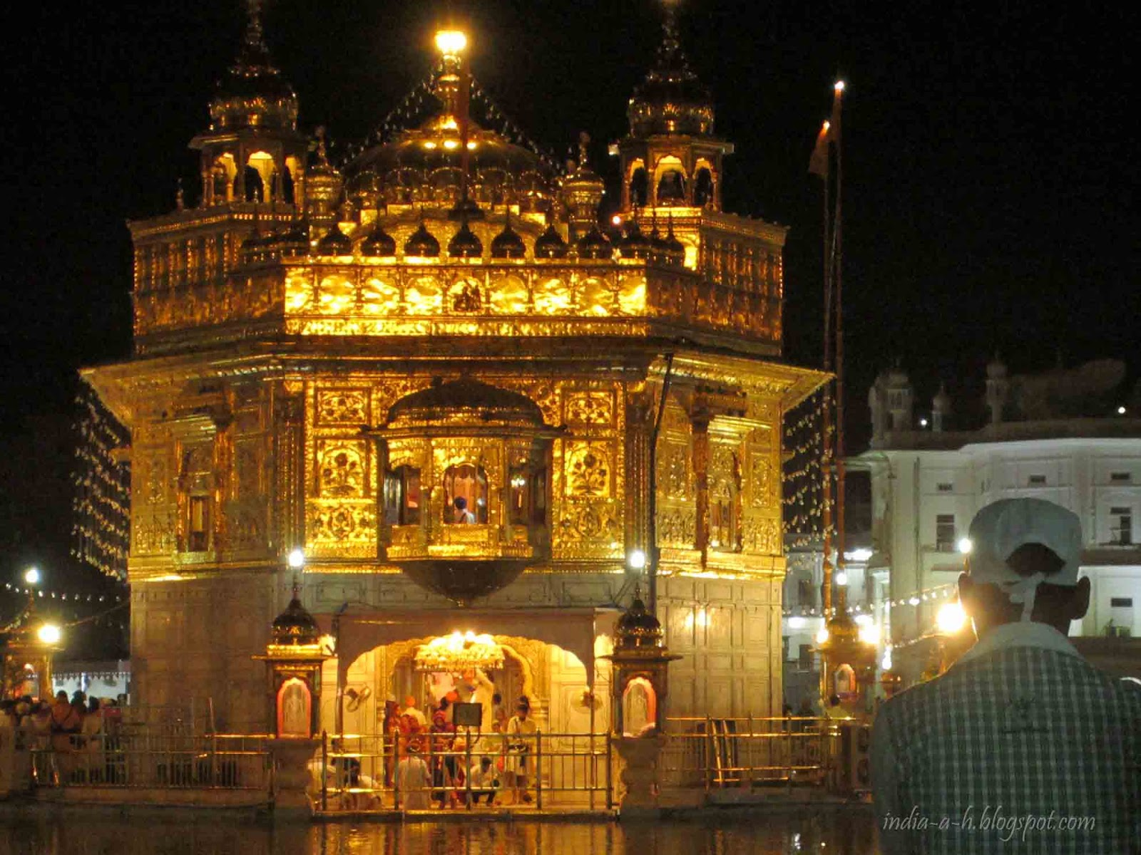 India a h golden temple by night for Golden night