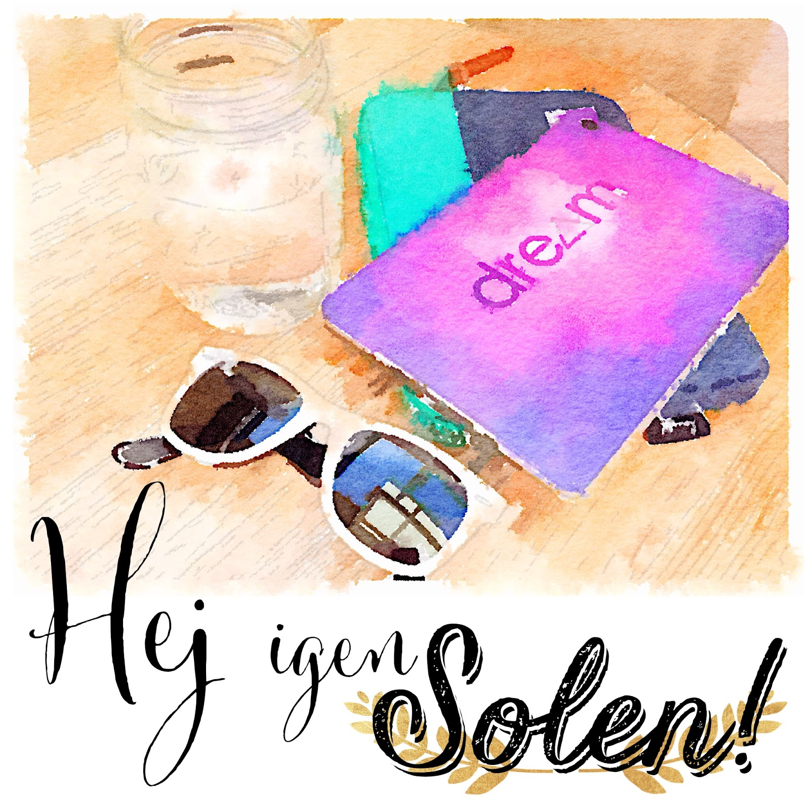 waterlogue app, solsken, plugga, ipad mini, ray ban wayfarer, mason jar