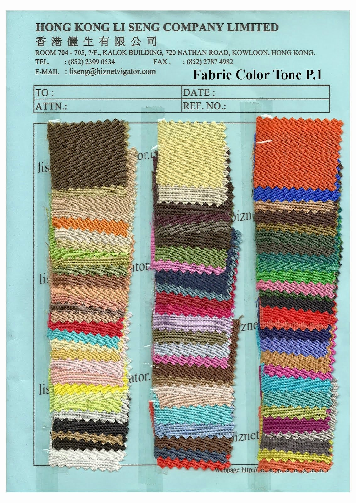 Fabric Color Tone P.1 - Hong Kong Li Seng Co Ltd
