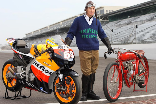 Nicky Hayden riding the 1909 Indian during 2008 Indianapolis http://hydro-carbons.blogspot.com/2012_08_19_archive.html