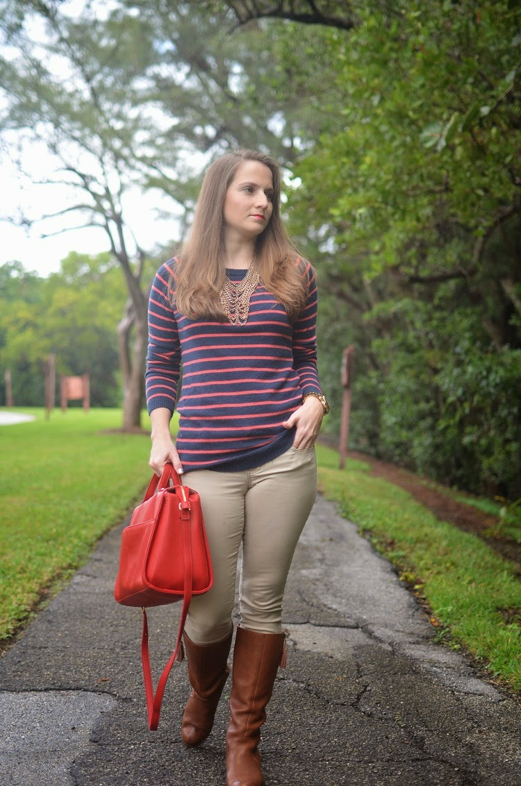Tan pants - striped F21 sweater - red bag - brown boots