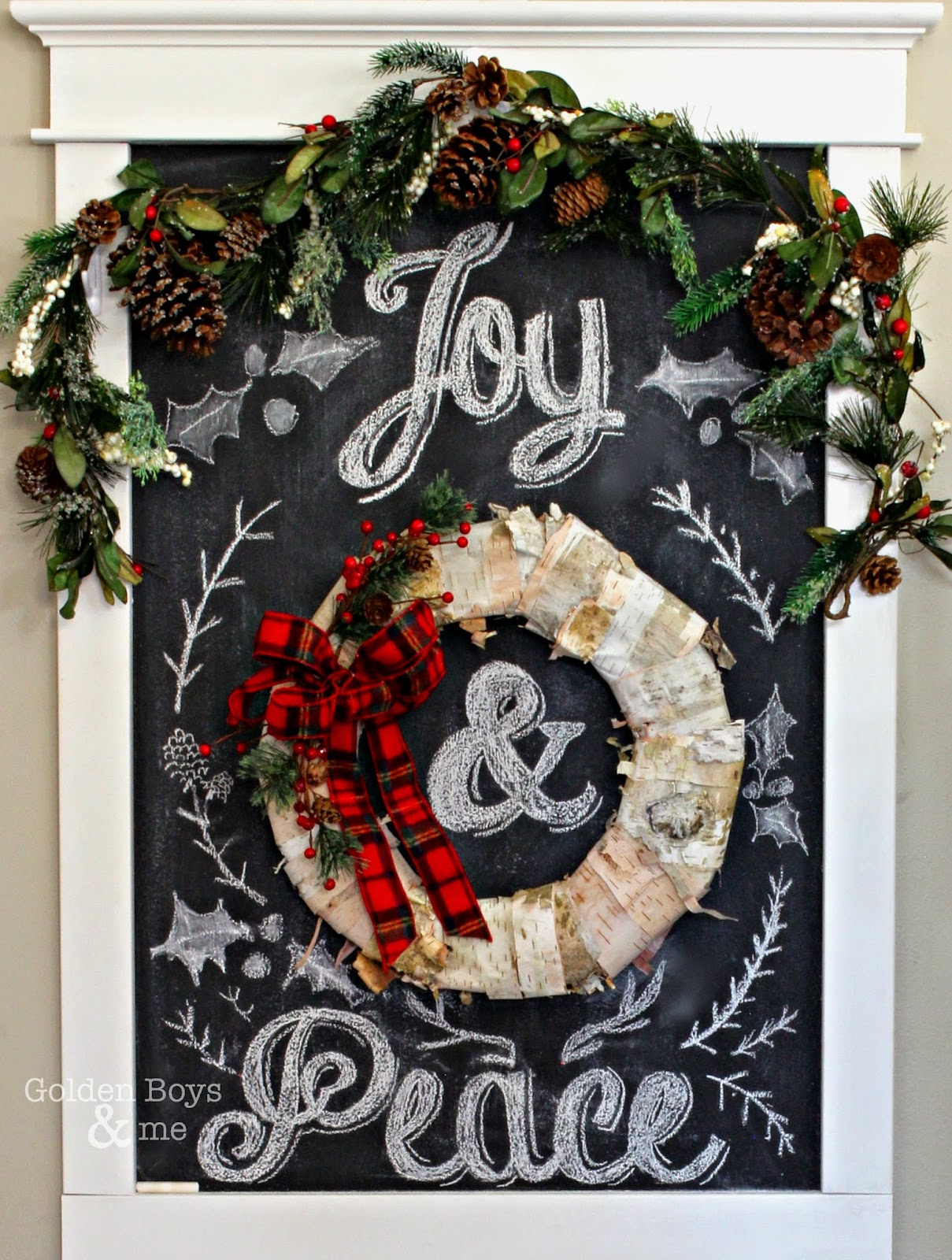 Joy and Peace chalk art with birch bark wreath in Christmas entryway-www.goldenboysandme.com