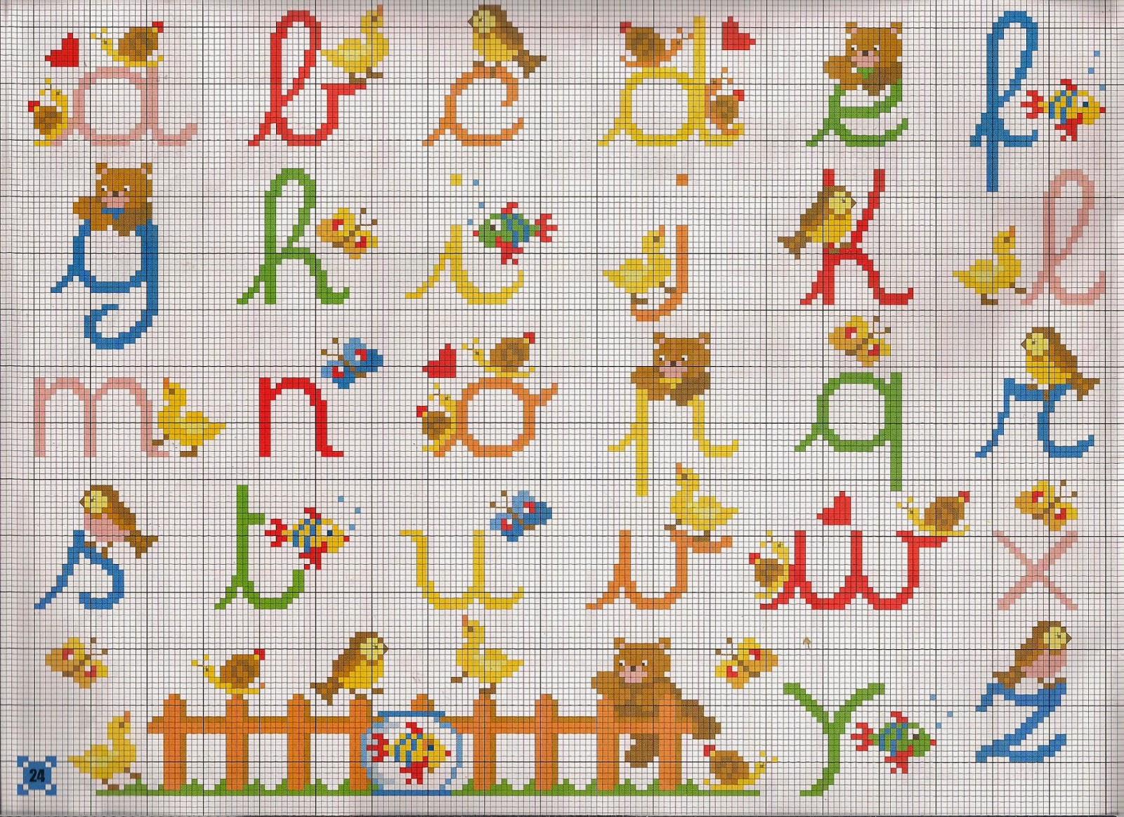 Hobby lavori femminili ricamo uncinetto maglia for Schemi punto croce alfabeto bambini