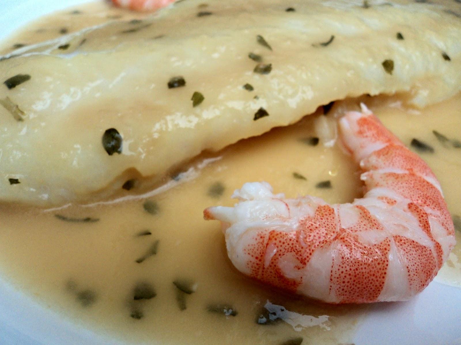 pescado, salsa verde, langostinos, receta, casera