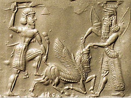 Gilgamesh and Enkidu slaying the bull of heaven