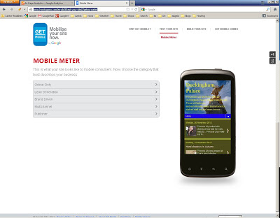 HowtoGoMo site displaying Duckinghampalace.com on mobile device