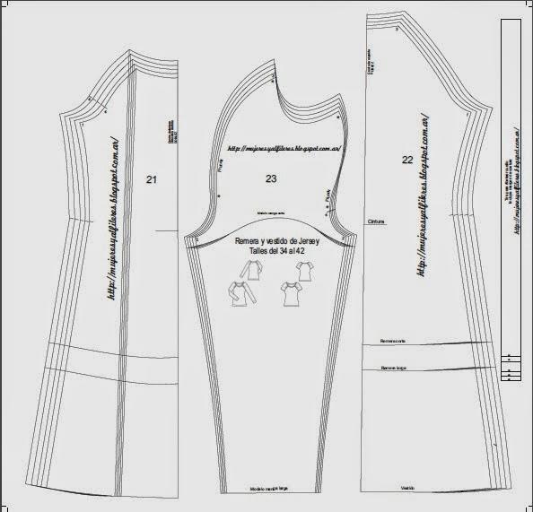 ... : Molde de remera y opción de vestido con frunces en las mangas