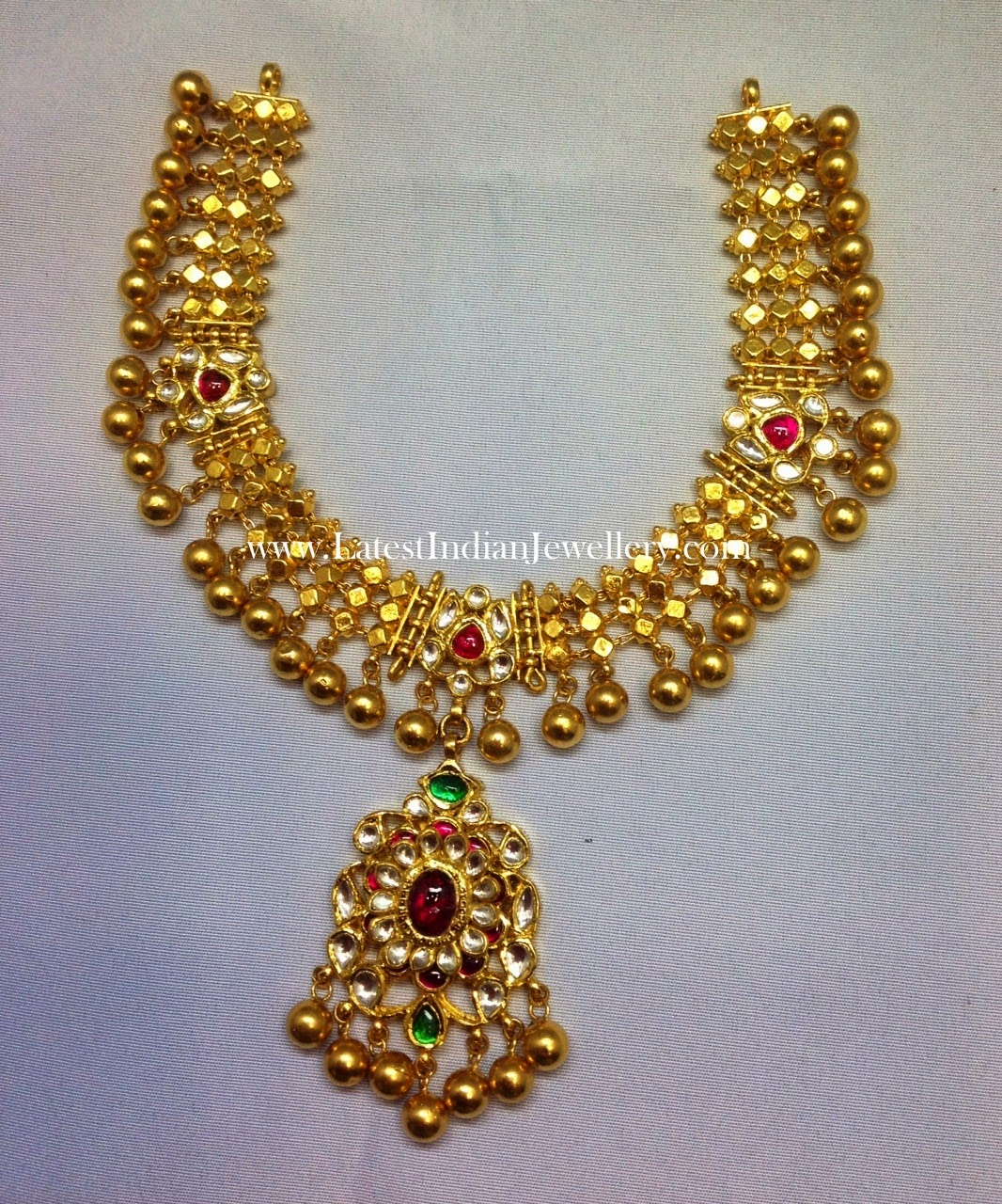 Gold Ball Drops Kundan Necklace