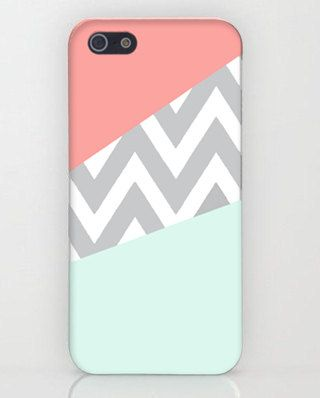 Original Mint & Coral Chevron Block iPhone Case