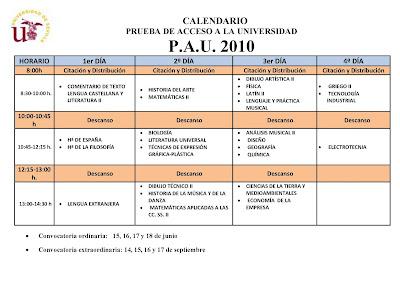 Calendario Selectividad 2010 Andalucía