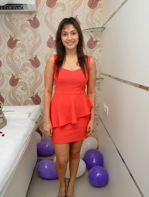 Manjari+(24) Manjari Phadnis Super Hot Photos in Red Dress At The Launch Of Naturals Family Salon & Spa