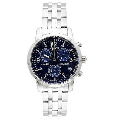 Gift For Sportsman Tissot Men's T17158642 T-Sport PRC200 Chronograph Stainless Steel Blue Dial Watch