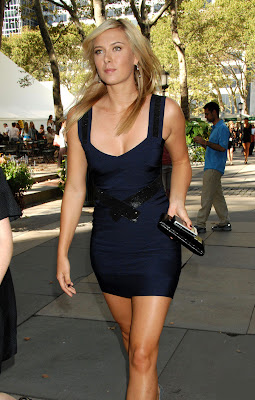 Hot Maria Sharapova in Blue Party Dress