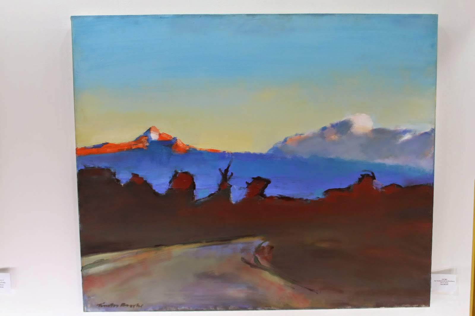 Last light is lovely landscape by kenya born painter timothy brooke whose work is up at one off gallery till end of may