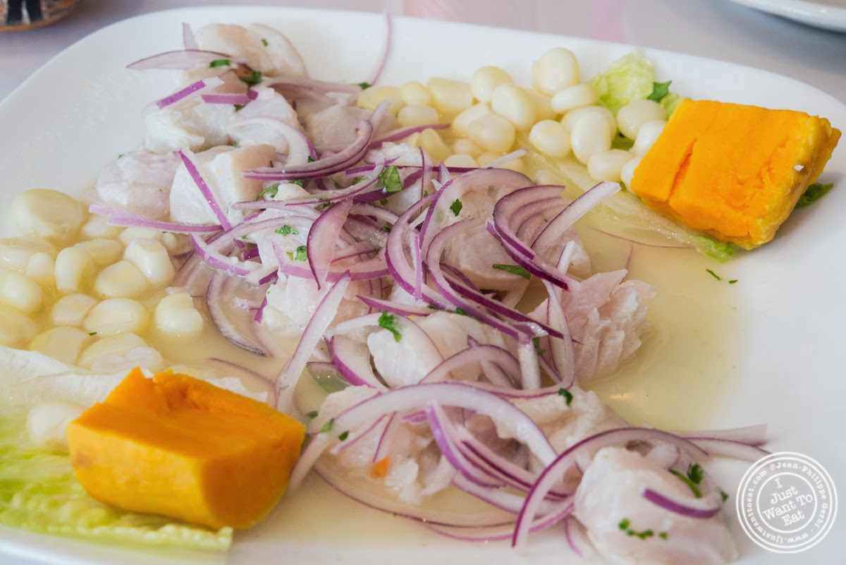 image of Ceviche de corvina or fish ceviche at El Anzuelo Fino in Woodhaven, NY