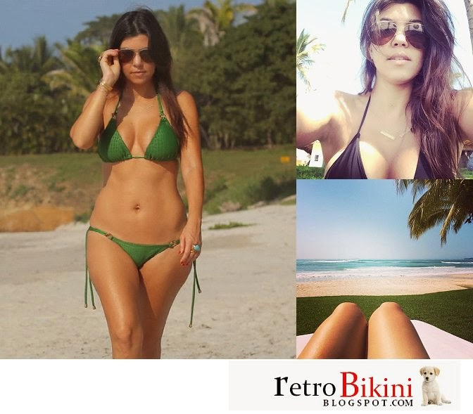 English:Kourtney Kardashian Green Bikini Mexico January‭ ‬27,‭ ‬2014‭