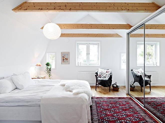 casa de campo diseño interior rustico actual -dormitorio matrimonial nordico