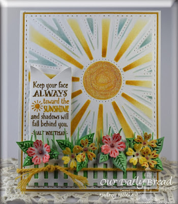 Our Daily Bread Designs Stamp sets: Sunshine Blessings, Spread your Wings, ODBD Custom Dies: Sunburst Backbround, Birds and Nest, Pennants, Fence, Grass Border
