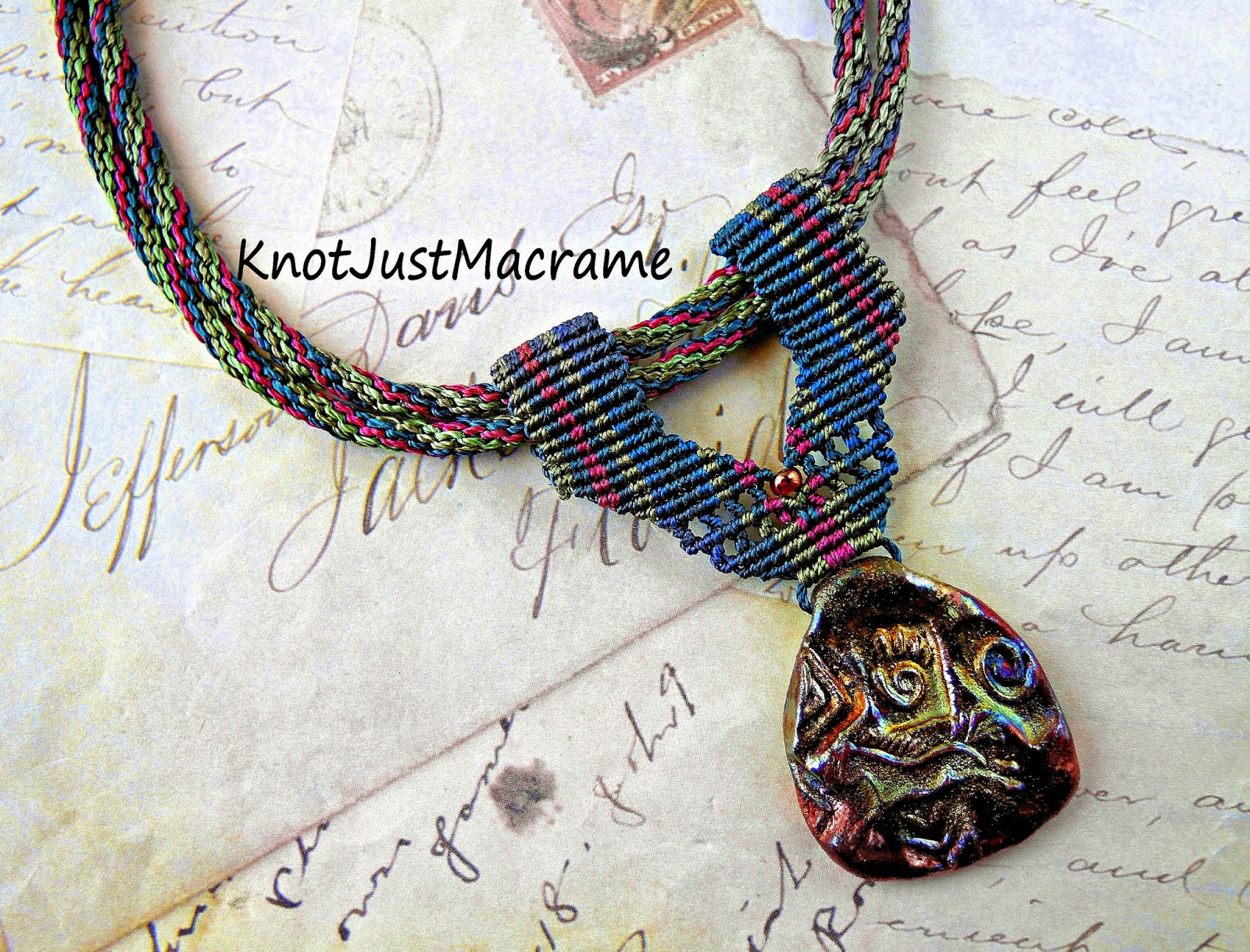 Micro macrame necklace with raku pendant