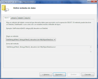 Areatic, ASP.NET 4.0 GridView, elegir origen de datos - Definir métodos de datos.