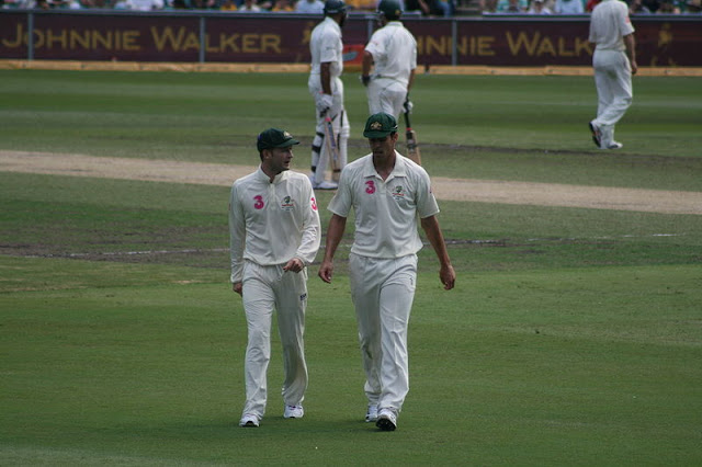 Michael Clarke and Mitchell Johnson