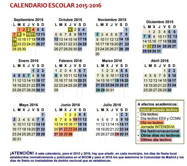 Detalle del calendario escolar en Madrid para el curso 2015/2016