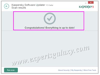 Kaspersky Updater Congratulations Screen
