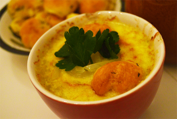 French onion soup with gougères