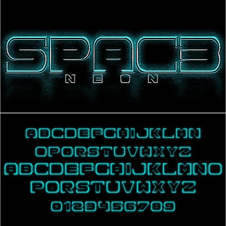 Tipografia Spac3 neon