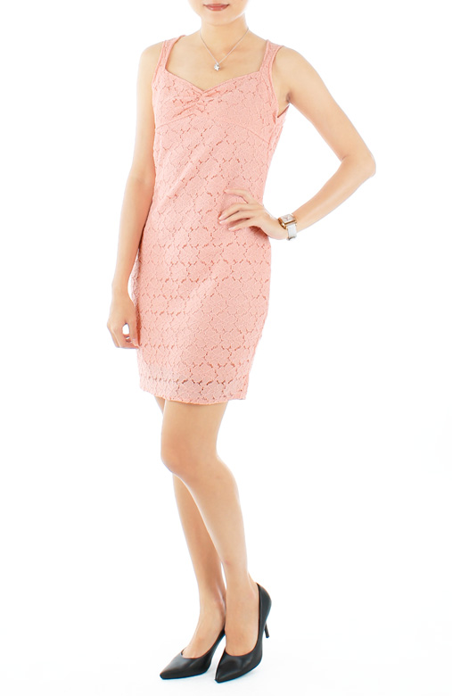 Pink Moon Rose Crochet Lace Dress