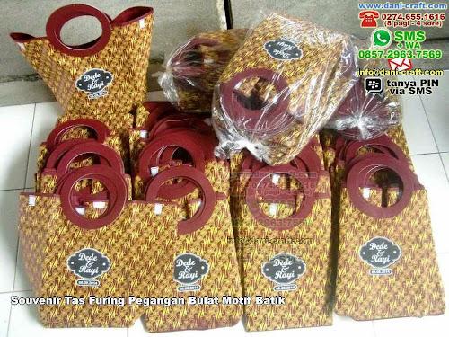 Souvenir Tas Furing Pegangan Bulat Motif Batik