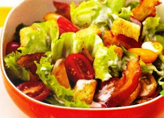 Picture of Chicken BLT Salad Bowl in a red bowl