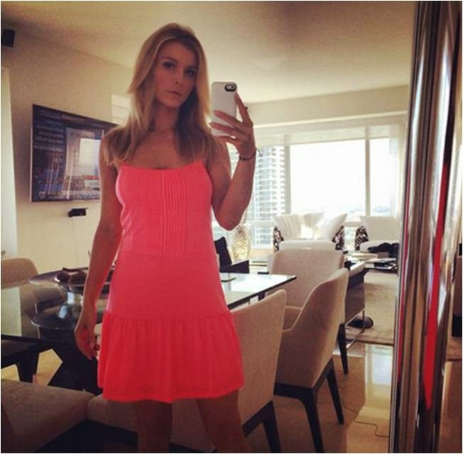 Joanna Krupa in Neon Iris Dress