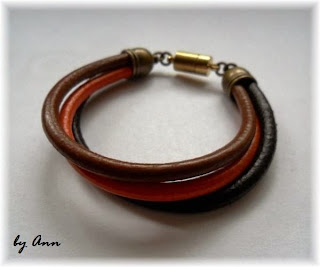 bransoletka rzemykowa jasny ciemny brąz pomarańcz magnes