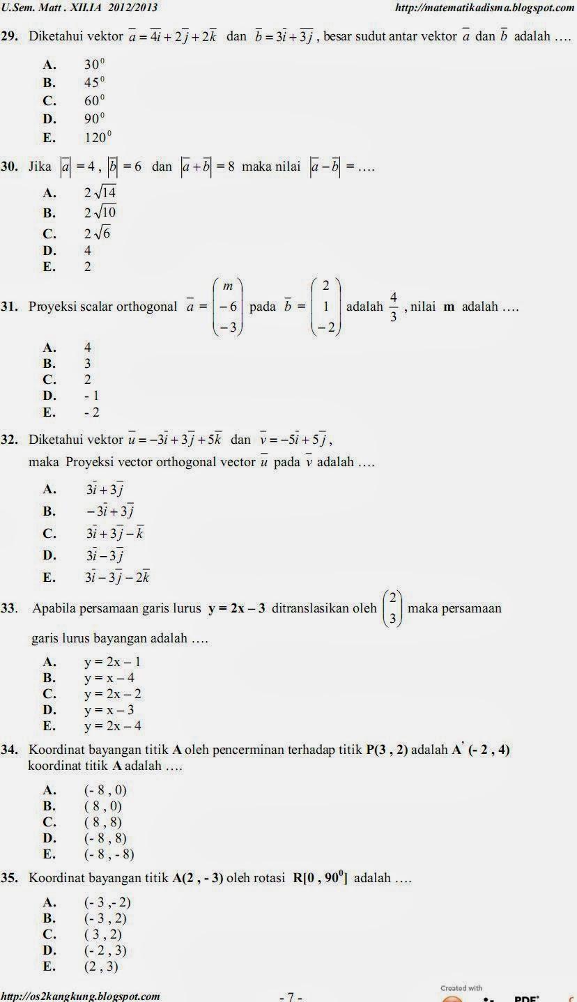 Matematika Di Sma Soal Soal Dan Kunci Jawaban Matematika Xii Ipa Ujian Semester Ganjil