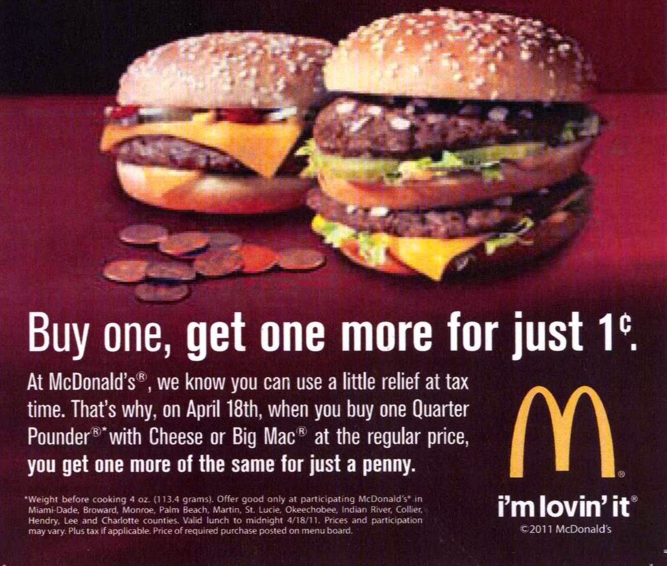 Mcdonalds discount coupon